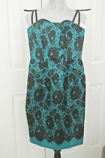MILLY Spaghetti StrapTeal/Black Above Knee Mini Cocktail Floral Dress, Size 2