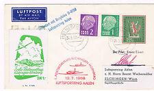 1958. Sobre circulado desde Sarre a Alemania con viñeta aerea