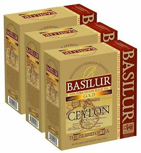 Basilur island of tea collection, Gold 100 tea bags Pure Ceylon tea 03 packs