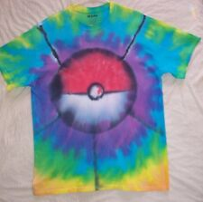 L T SHIRT TIE DYE POKEMON BALL PURPLE GREEN RED LARGE GILDEN HIPPY MENS WOMENS
