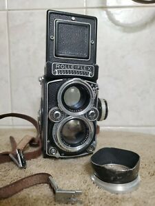 Rolleiflex 2.8E Planar with hood and Strap working