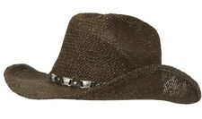 Straw Hat Cowboy Western Brown Silver Sparkle Festival New Summer Beach Holiday
