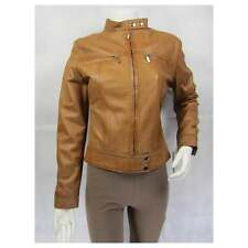 Ladies Tan Napa Leather Slim Tight Fitted Short Biker Fashions Jacket Bike