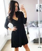 Ex TopShop Ribbed Black Trumpet Flare Sleeve mini Wrap Dress