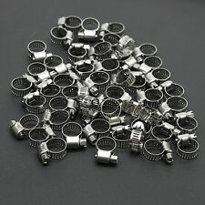 """50Pcs 3/8""""-1/2"""" Adjustable Stainless Steel Drive Hose Clamps Fuel Line Worm Clip"""