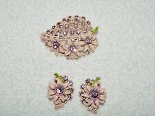 Super Cute Pink Enamel & Purple Rhinestone Strawberry Flower Brooch Pin Earrings