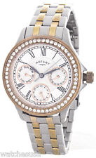 Rotary Ladie's Rose Gold Plated & Silver Tone Multi Dial Watch Model LB00101/06