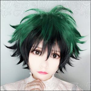423 New Men's Short Green Black mix Cosplay Party Wig