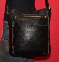 """THE SAK """"LAUREL"""" Black Pebbled Leather Shoulder Cross-body Satchel Purse Bag"""