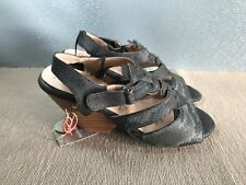 BNWT Ladies Sz 10 Rivers Brand Gorgeous Black Snake print High Heel Sandals shoe