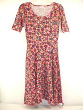 Lularoe Nicole Dress Full Circle Skirt Short Sleeve Coral Blue Paisley USA Sz XS