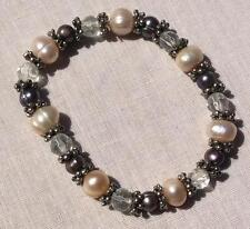 Vintage Expandable Silvertone W/Pearl, Gray & Clear Color Beaded Bracelet