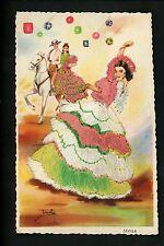 Embroidered clothing postcard Artist Iraola, Spain, Sevilla horse man woman