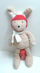 "Sainsbury  16"" Floppy Bunny Soft Toy  Comforter Red Hat Cream Scarf Washable"