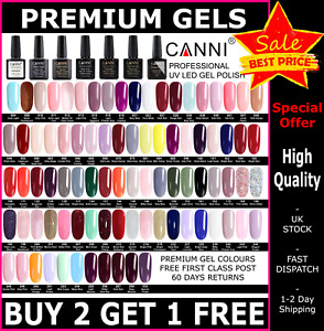 CANNI Nail Gel Polish 7.3ml UV LED Set Colour Varnish Top Base Coat