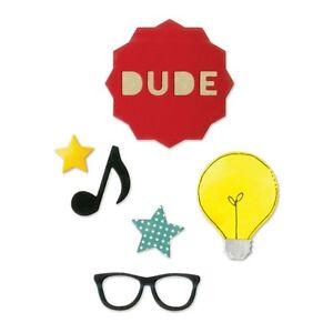Sizzix Thinlits Die Set 7PK - Dude by Jillibean Soup 660413 - Music Note, Star