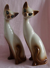 TWO LARGE POTTERY CERAMIC TALL CREAM BROWN SIAMESE PAIR CATS SITTING UNMARKED