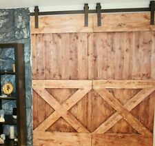 7 Ft Country Classic Double Sliding Barn Door Hardware Kit, 100% Steel