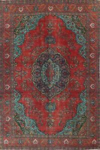 Vintage Overdyed Floral Oriental Traditional Area Rug Hand-knotted Wool 9x12 ft