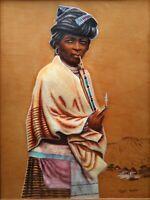 Mizraim Maseko South African Art Originale Firmato Ritratto Pittura X-Hosa Woman