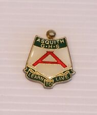 VINTAGE ASQUITH GIRLS HIGH SCHOOL CREST METAL ENAMEL BADGE COAT MEDALLION PIN