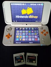 New Nintendo 2DS XL Handheld Portable Game Console White/Orange (Barely used)