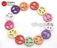 """30mm Round Multicolor Peace Sign Turquoise Beads for Jewelry Making Strand 15"""""""
