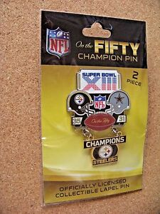 SB Super Bowl 13 XIII On the Fifty Champion pin dangle dangling Steelers Cowboys