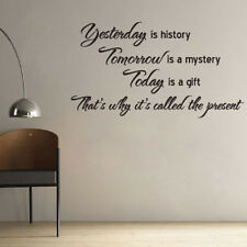 Yesterday is History Art Quote Home Room DIY Decor Removable Wall Stickers Decal