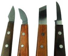 Sheffield Made Set x 4 Straight, Curved, Skew Wood Chip Carving Chisels. W3249
