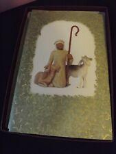"New ""Willow Tree"" Christmas Cards Shepherd & Sheep 12Ct Pumpernickel Press Embos"