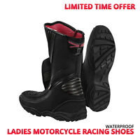 Womens Motorbike Motorcycle Racing Shoes Ladies Waterproof Leather Touring Shoes