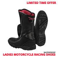 Womens Motorbike Motorcycle Racing Shoes Ladies Waterproof Leather Touring Shoes