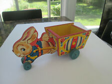 Vintage 1958 Fisher Price No. 311 Running Bunny Cart Wood & Litho Pull Toy 5209