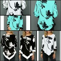 Long Sleeve Pullover Jumper Tops Loose O Neck Womens T-Shirt Floral Casual
