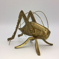 "Lucky Large Brass Cricket Extra Long Antennae 5"" x 3.5"" x 3"" Heavy Made in India"