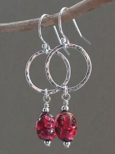 Art Deco Oval Pink LAVA FOIL & Hammered Circles Sterling Silver Earrings