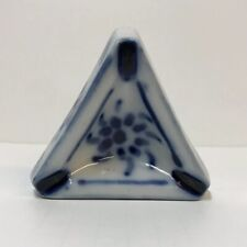 Porcelana Monte Siao Brazil Porcelain Ashtray #14 3 Rests Triangle Blue On White