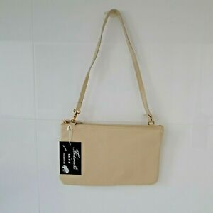 'FONTANELLI' BNWT ITALIAN TEXTURED TAUPE ZIP OPENING BAG WITH REMOVABLE STRAP