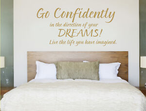 Go confidently in the direction of your dreams wall sticker | Bedroom quotes