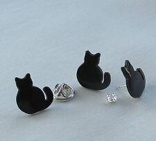 Handmade Kitsch Black Sitting Cat Brooch Pin and Stud Type Earrings - Gift