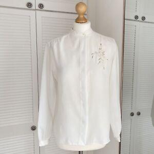 Canda Vintage Blouse Size 12 White Floral Mandarin Collar Oriental Cottagecore
