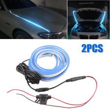 2PCS LED Car Engine Hood Guide Light Strips Bar Atmosphere Decoration Ice Blue