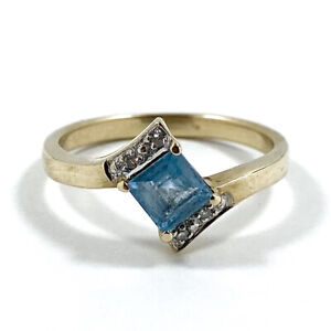9ct 375 Yellow Gold Ring With Natural Blue Topaz And Diamonds Size N 1/2