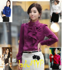 Romantische Bluse mit asymmetrischen Rüschenkragen mehrere Farbe zum Auswahl NEU