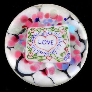 """Signed Old Degenhart """"LOVE"""" Painted Plaque Paperweight"""