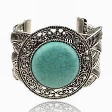 Chic Tibet Argent Turquoise Amitié Turquoise Bride Bangle Cuff Open Bracelet