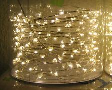 10m = 100 Lichter Micro LED Lichterkette Silberdraht Außen Draht Trafo Warmweiß