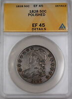 1828 Bust Silver Half Dollar 50c Coin ANACS EF-45 Details Polished