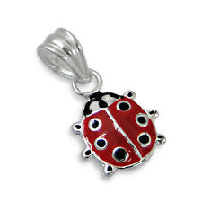 925 Sterling Silver Pendant - Red Ladybird - WithOUT Chain - Free Gift Box